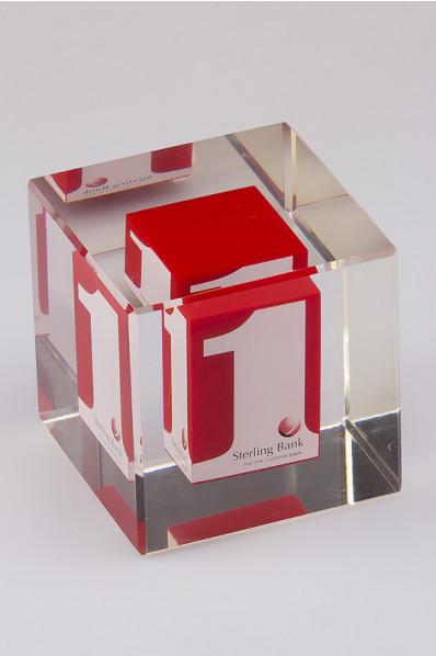 Acryleinschluss - Logo im Würfel