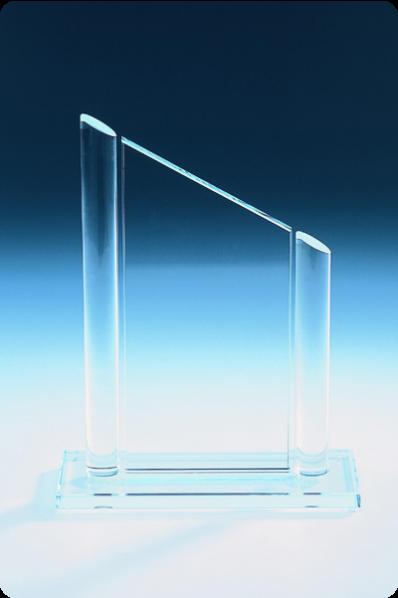 Schräge Glasplakette