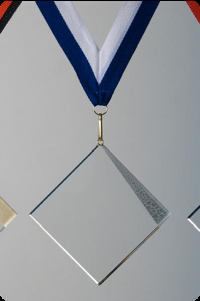 Quadratische Glasmedaille