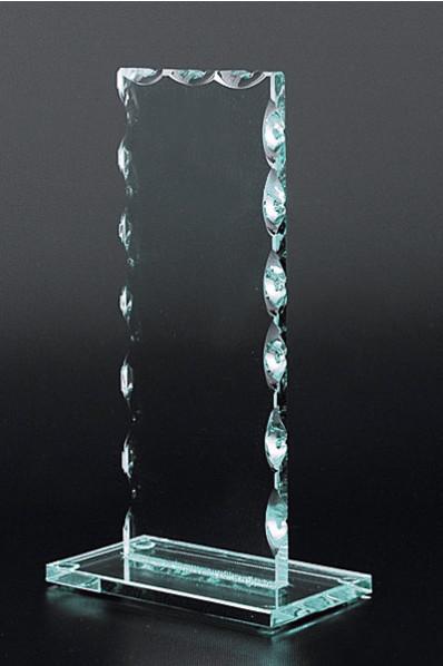 Rechteckige Glasplakette mit Schliff