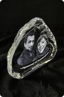 "Kristallplakette ""Berg"" mit Fotogravur"